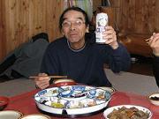 お客様最長老は朝からビール!