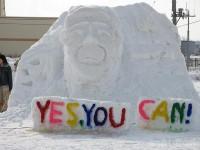 オバマ大統領の雪像