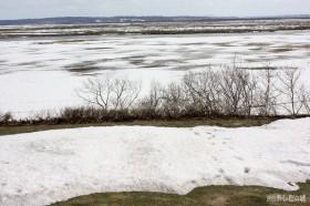 雪解け進む原野方面