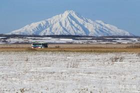 沿岸バスと初冬のサロベツ原野