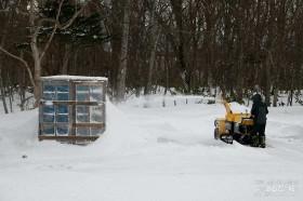 結局除雪機で雪を飛ばす