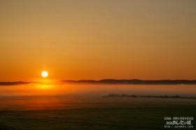 宿の庭から見た夜明け